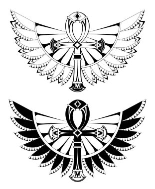 Two artistically drawn, contoured ankhs with wings on a white background. Tattoos style. Element of design. Egyptian Cross. Black ank