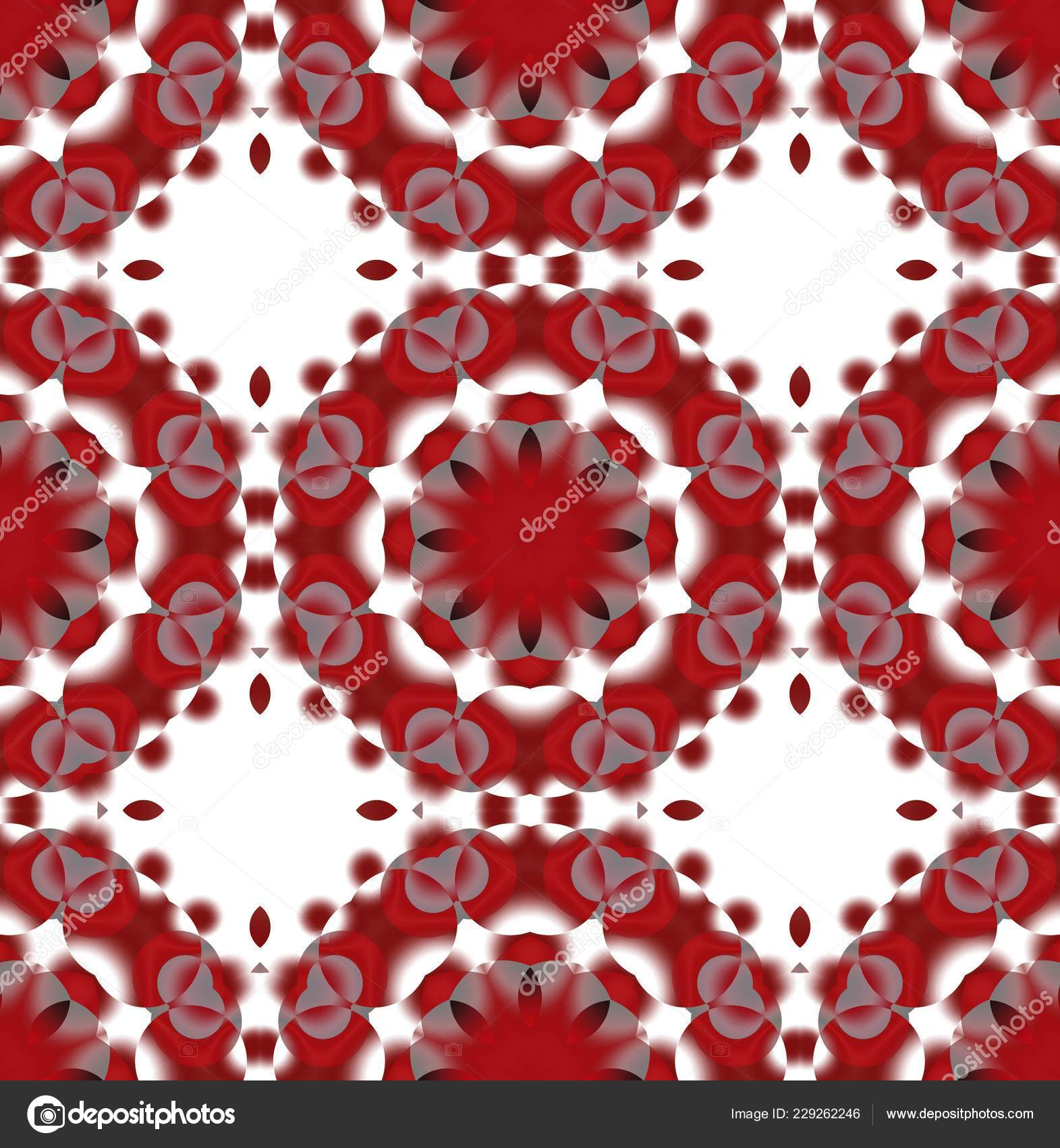 Traditional Red White Gray Geometric Seamless Pattern