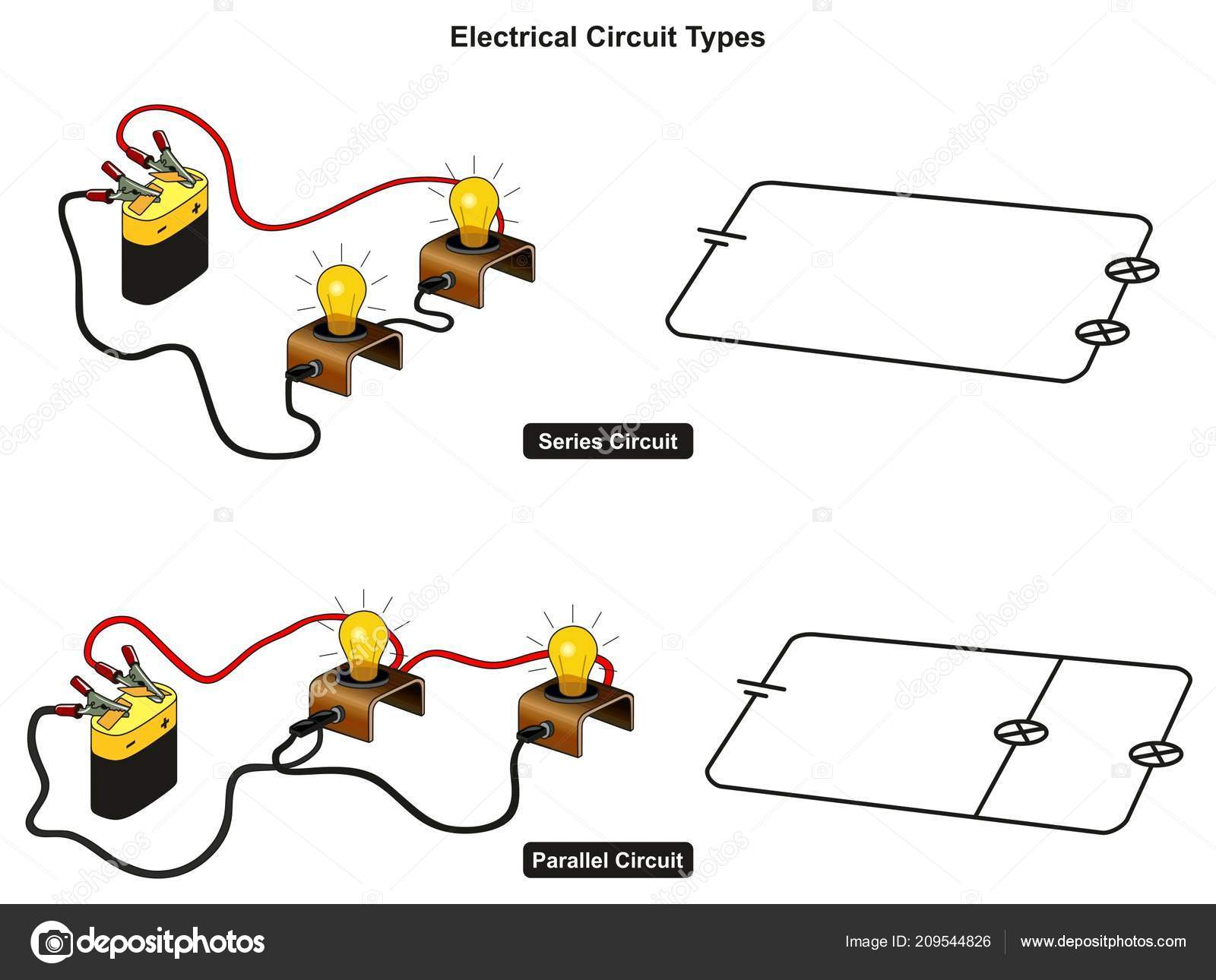 Parallel Circuit Diagram Vector Electrical Wiring House Types Infographic Showing How You Connect Rh Depositphotos Com And Series Circuits