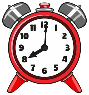 Alarm Clock Symbol drawing as cartoon character style red object showing time in round shape