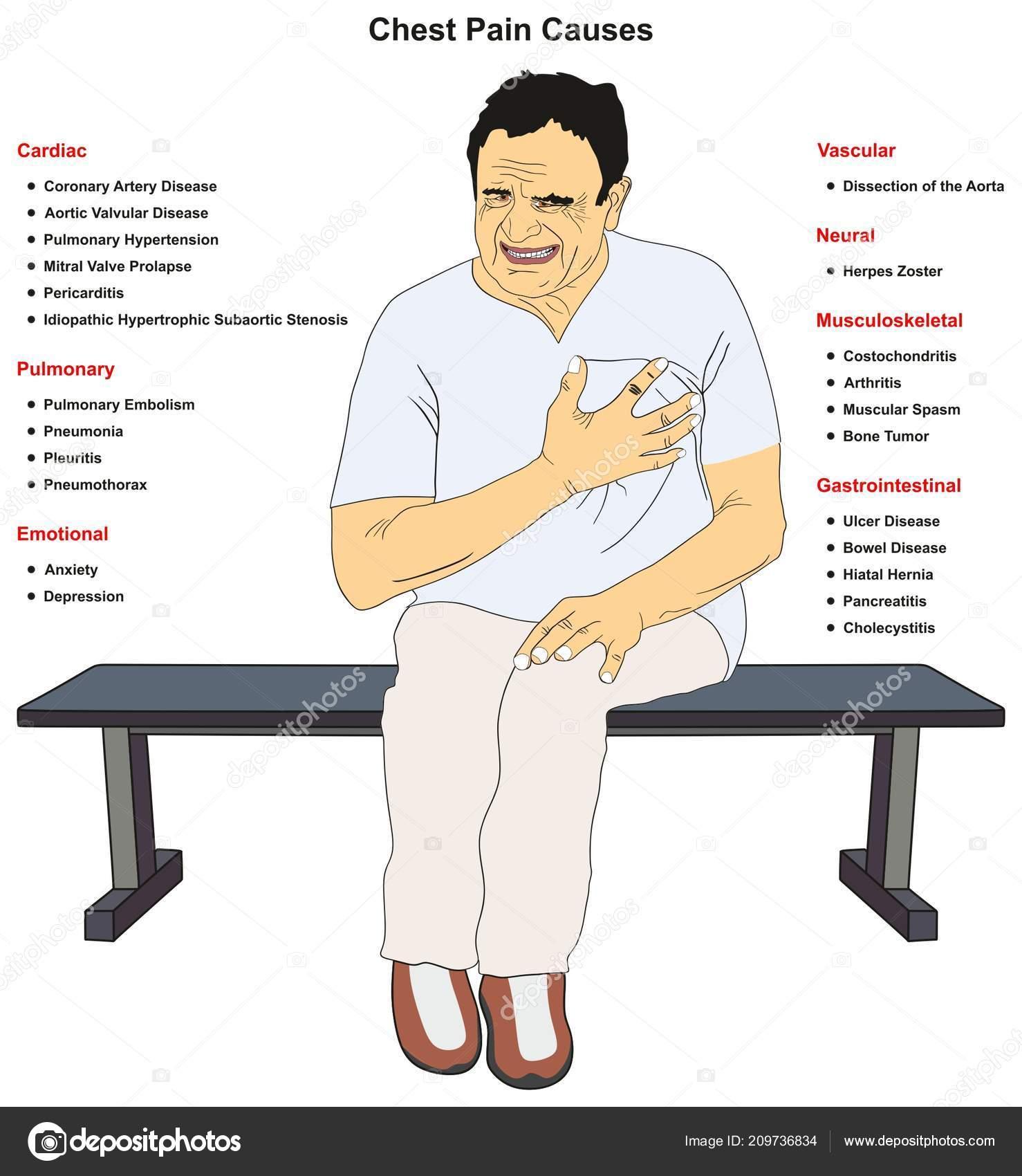 Pecho Causas Comunes Dolor Infografía Diagrama Incluyendo Cardiaco ...