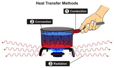 Heat Transfer Methods infographic diagram including conduction convection and radiation with example of pot cooker on gas fire for basic physics science education stock vector