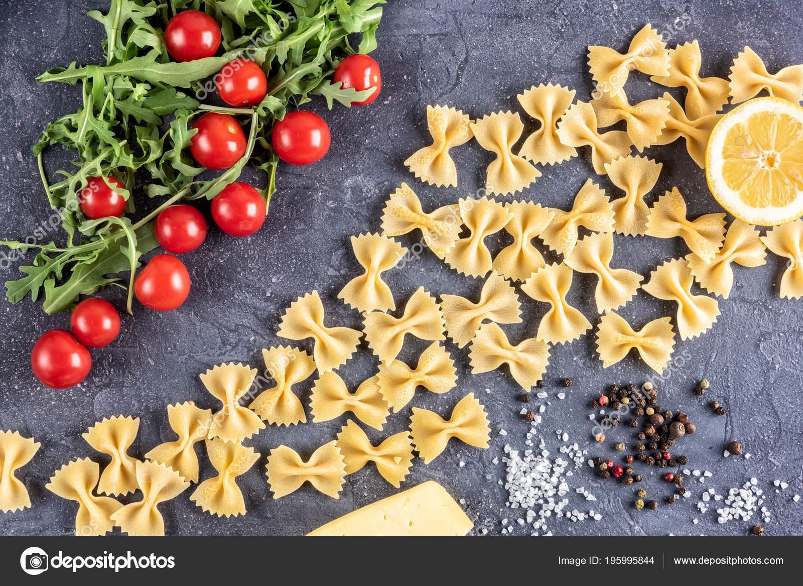 Food Background Uncooked Pasta Macaroni Farfalle Close Macro Red