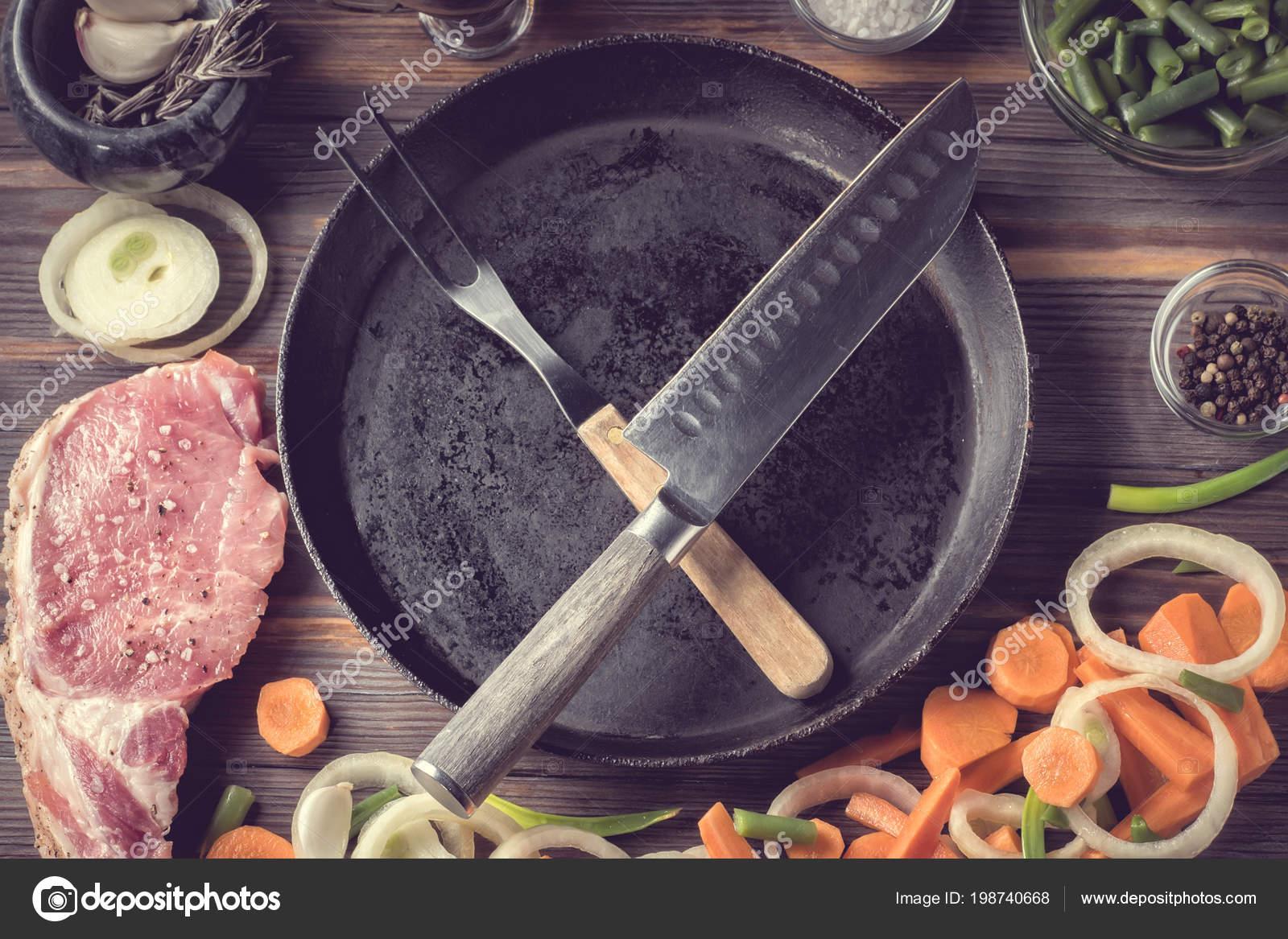 Set Products Ingredients Cooking Pork Steak Meat Veal Scraps