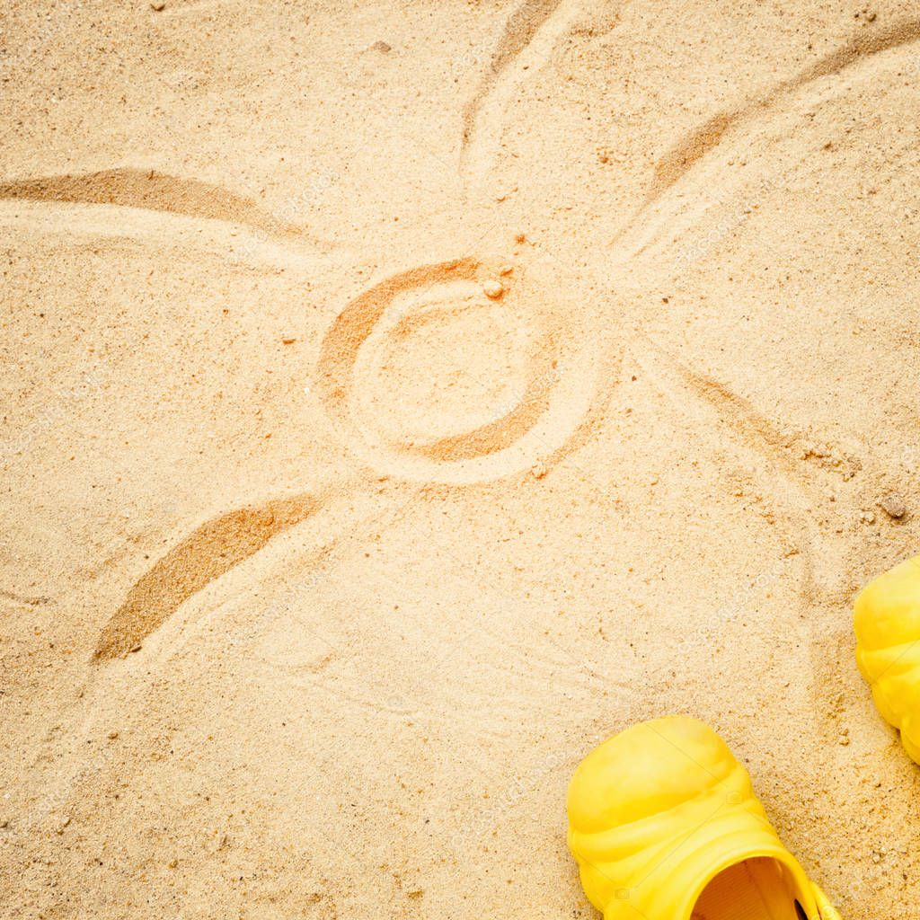 Beach Summer Sun Sand Kids Toys and bottle water slippers and Sunscreen