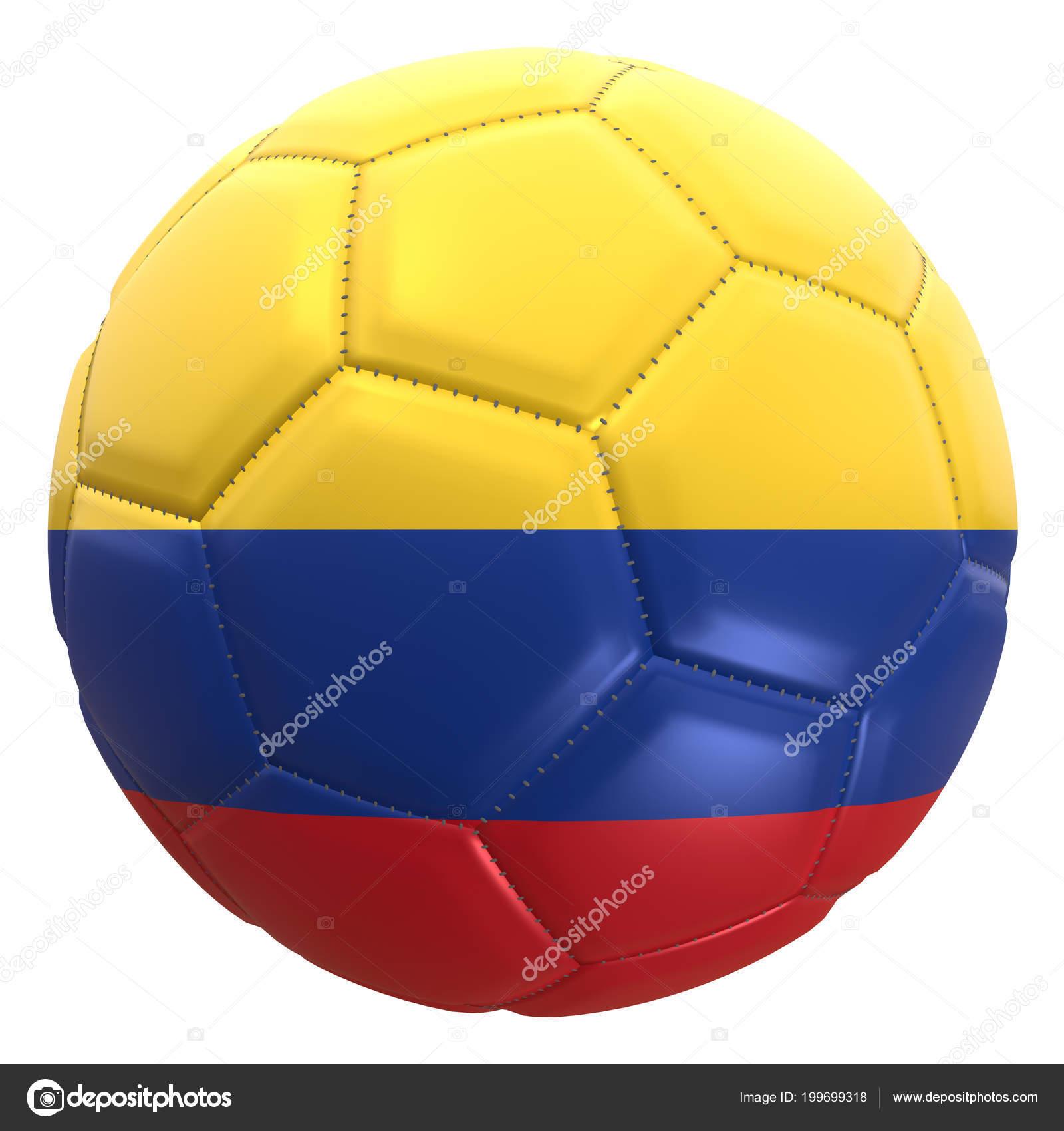 Dessin en 32D d'un drapeau colombien sur un ballon de football. La Colombie  est l'une des équipes du championnat du monde de Coupe du monde en Russie  ...