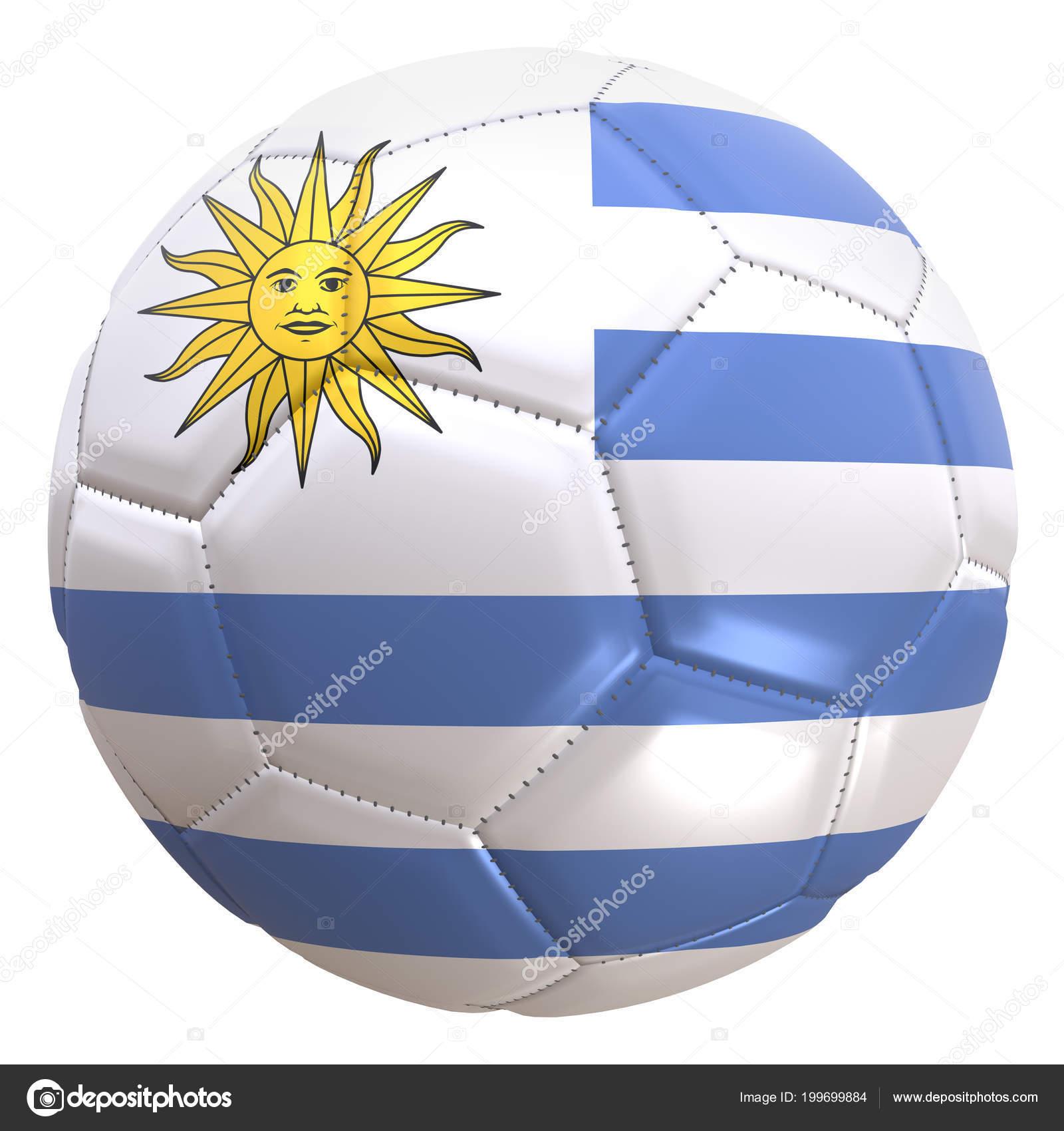 32d rendu d'un drapeau de l'Uruguay sur un ballon de football. L'Uruguay est  l'une des équipes du championnat du monde de Coupe en Russie 32, . ...
