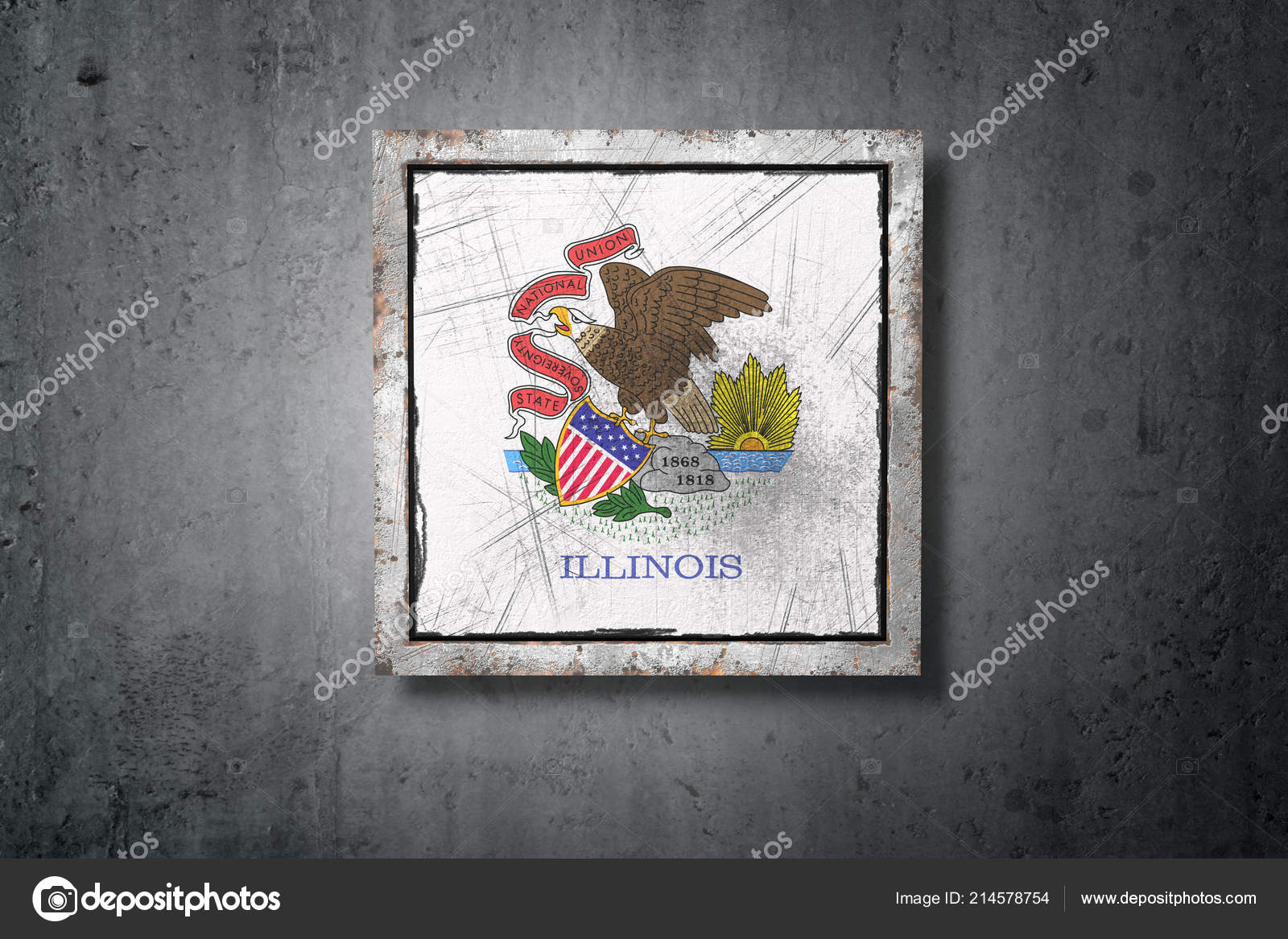 Rendering Old Illinois American State Flag Concrete Wall — Stock