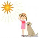 Fotografie ein Mädchen, das an einem sonnigen Tag einen Hund ausführt / Illustration eines Mädchens, das an einem sonnigen Tag einen Hund ausführt.
