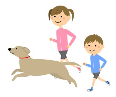 Boys and girls, Jogging/It is an illustration that children are running.