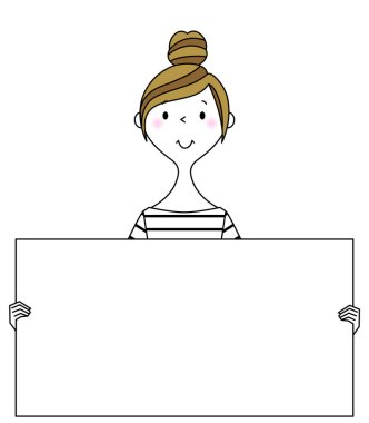 Young woman,mama,White board/Illustration of a young woman with a white board.