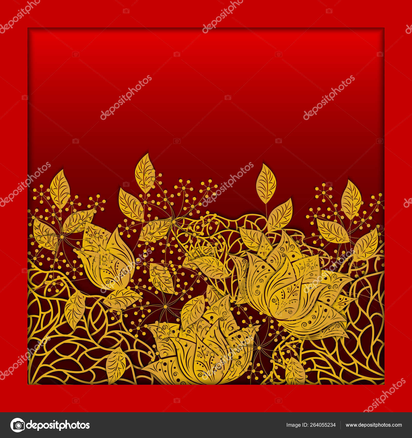 Background With Flower Lotos Leaves Wedding Ornament Concept Floral Poster Invitation Flyer Cover Banner Background 3d Vector Illustration Paper Cut Out Art Style Stock Vector C Rna0704 264055234