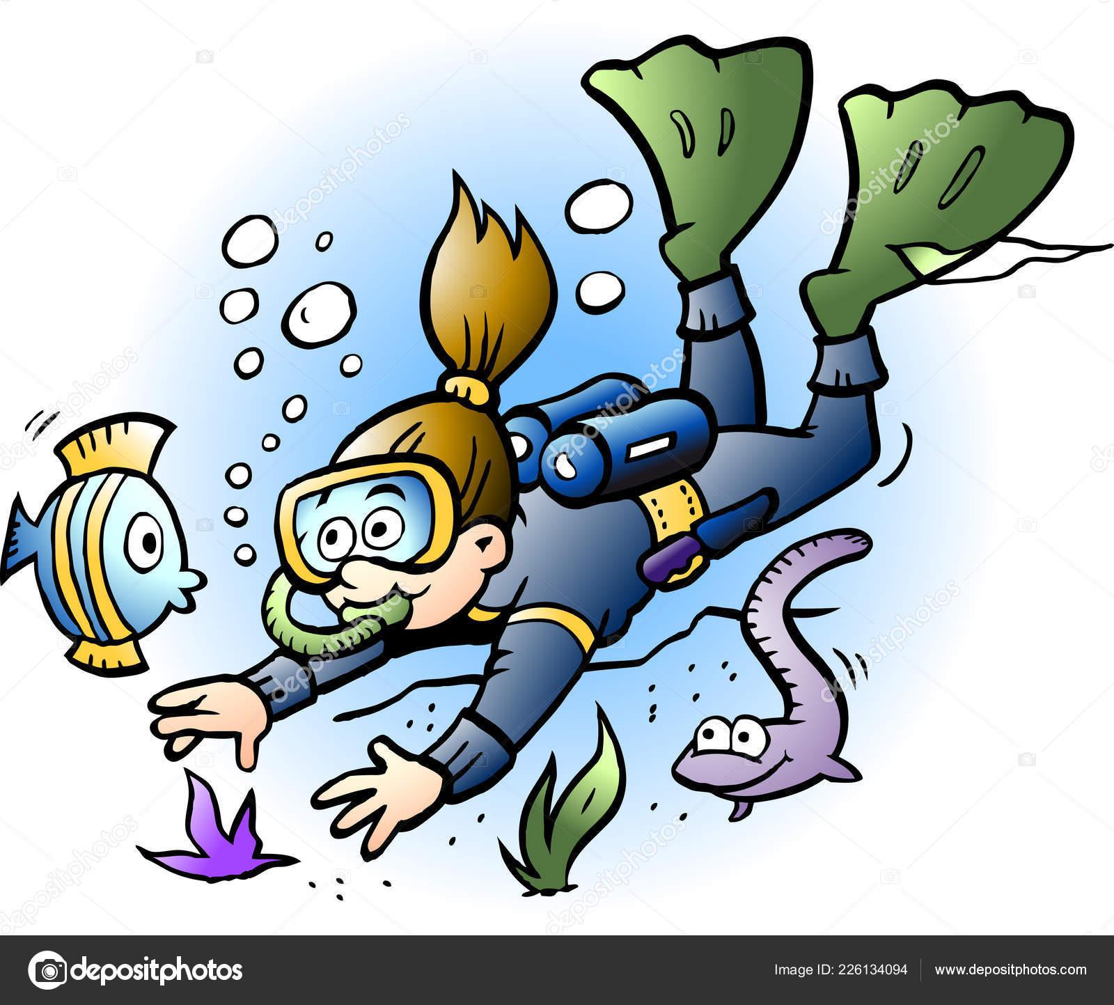 Vector illustration dessin anim plongeur regardant les poissons color s image vectorielle - Dessin plongeur ...