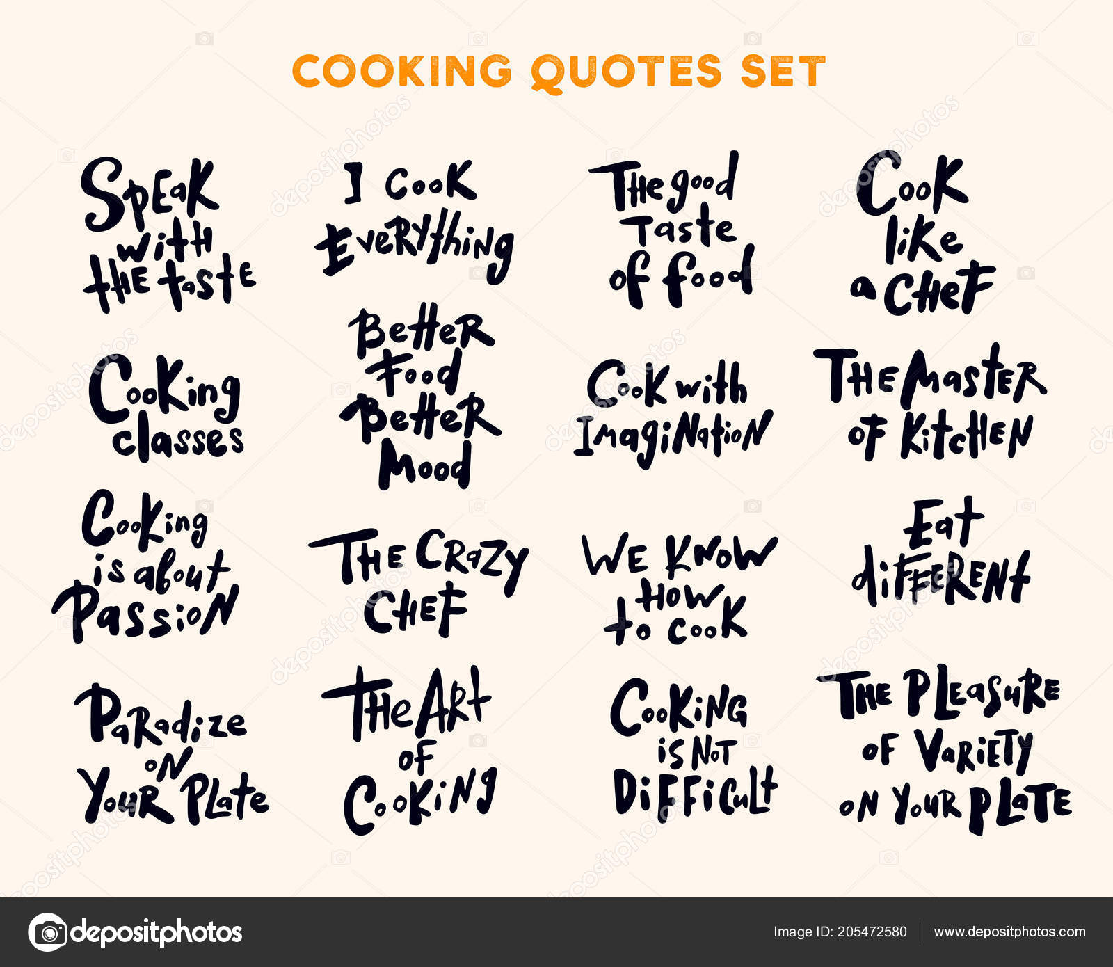 Chef sayings | Set Hand Written Lettering Quotes Phrases