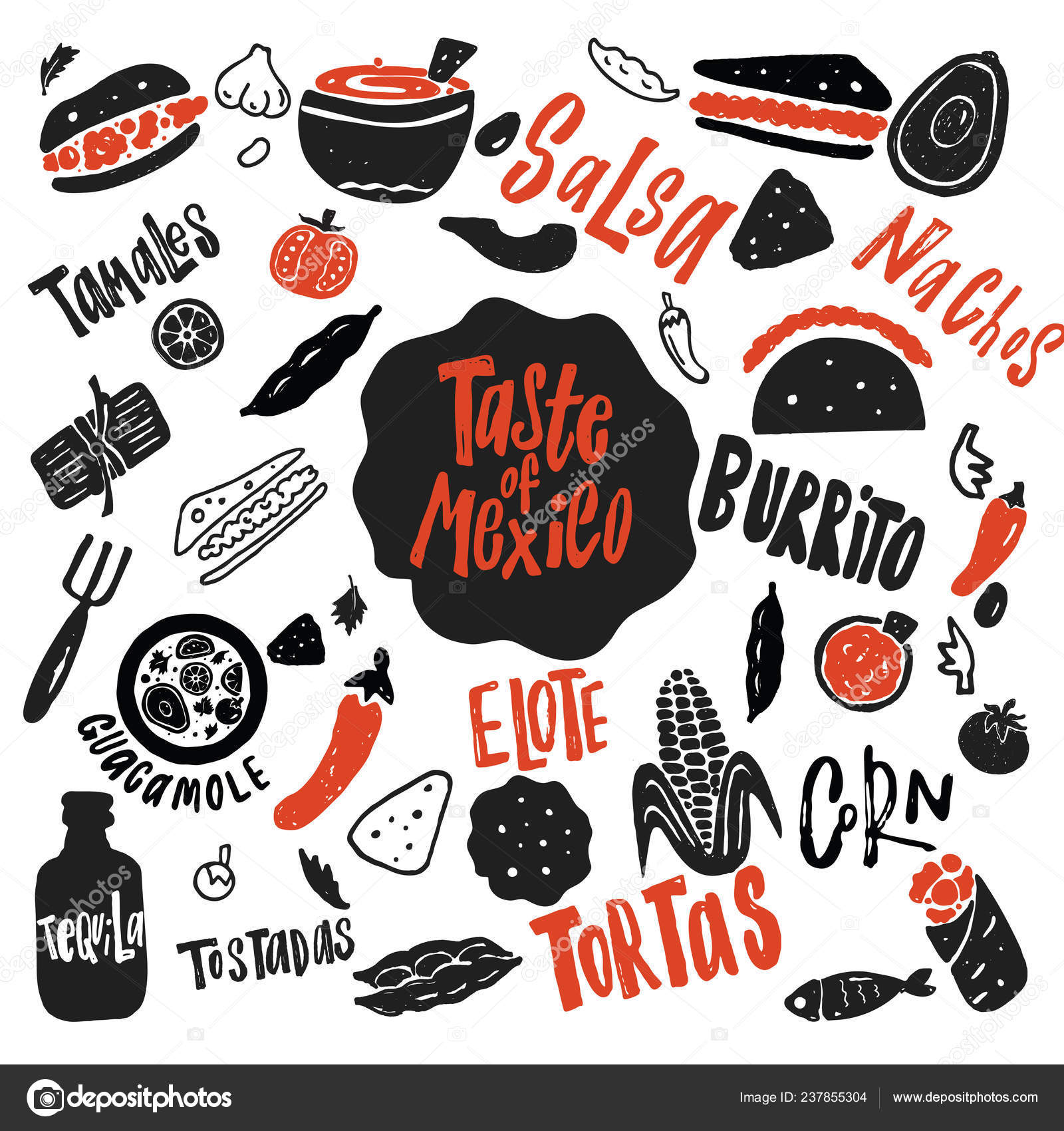 Chut Mexika Legracni Rucne Kreslene Vektorove Ilustrace Nazvy