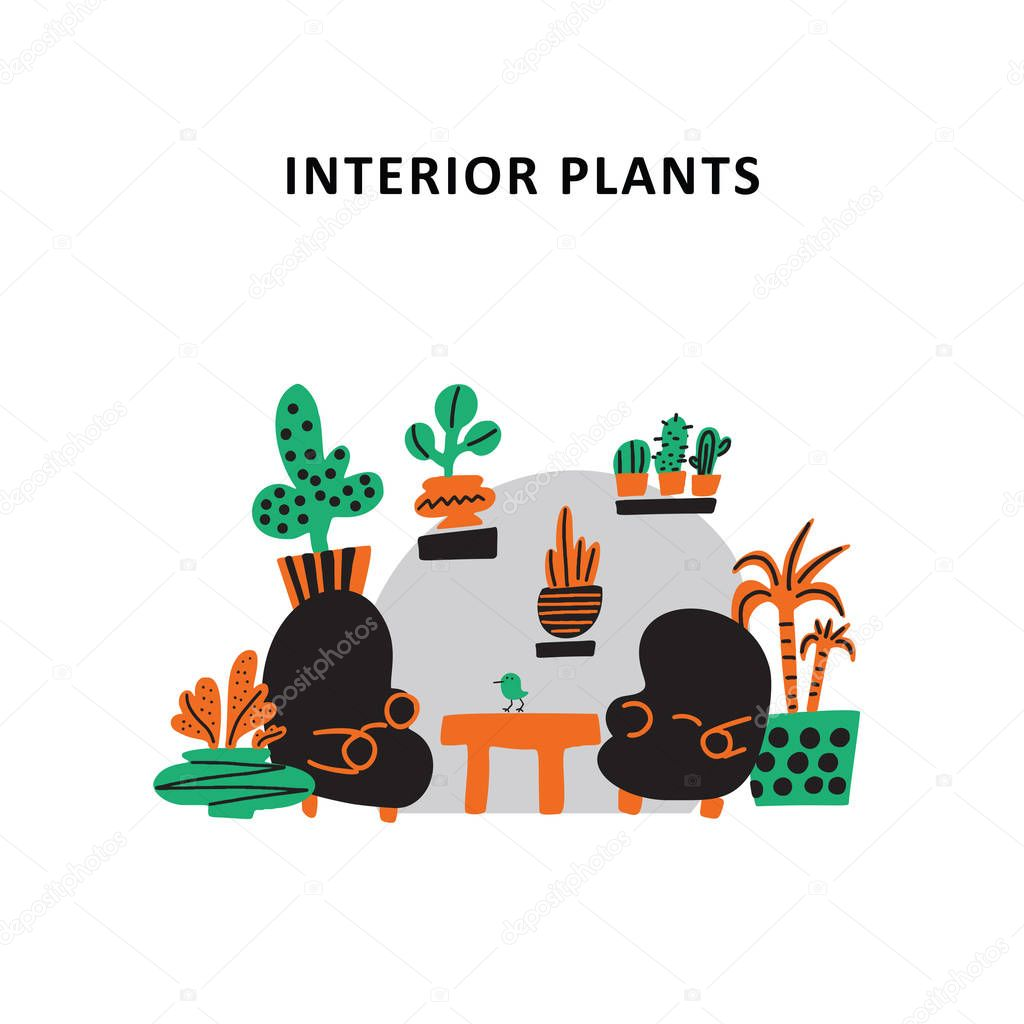 Interior plants. Doodle illustration of two armchairs and table, decorated with plants. Plantscaping service concept. Vector.