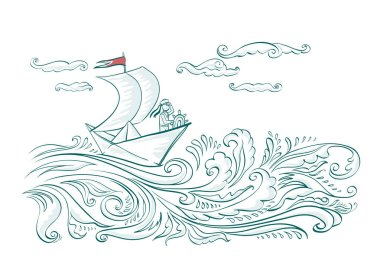 Origami paper boat on the waves of the sea with a sailor stock vector