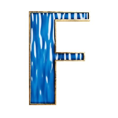 3d blue alphabet and numbers in glass and bronze material isolated 3d illustration