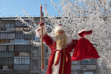 Slavic Santa - Grandfather Frost carries Christmas gifts to the city. Happy New Year and Christmas.