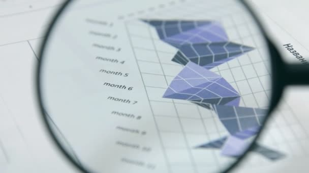 Rotation. Studying charts with a magnifying glass. Financial analysis.
