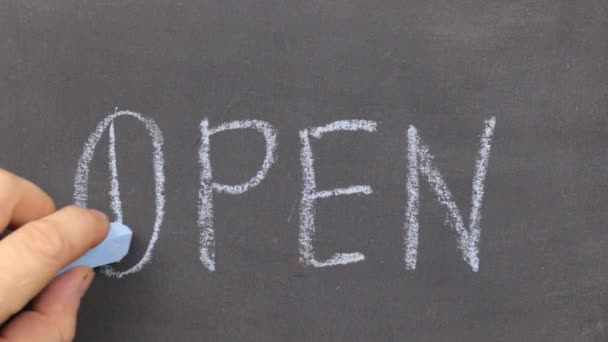 Small blackboard with the word open, written on it in chalk. Stroke along the contour with chalk.