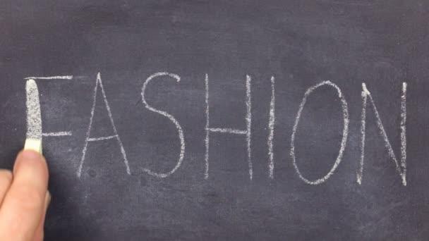 Word FASHION, written by hand in chalk on a blackboard.