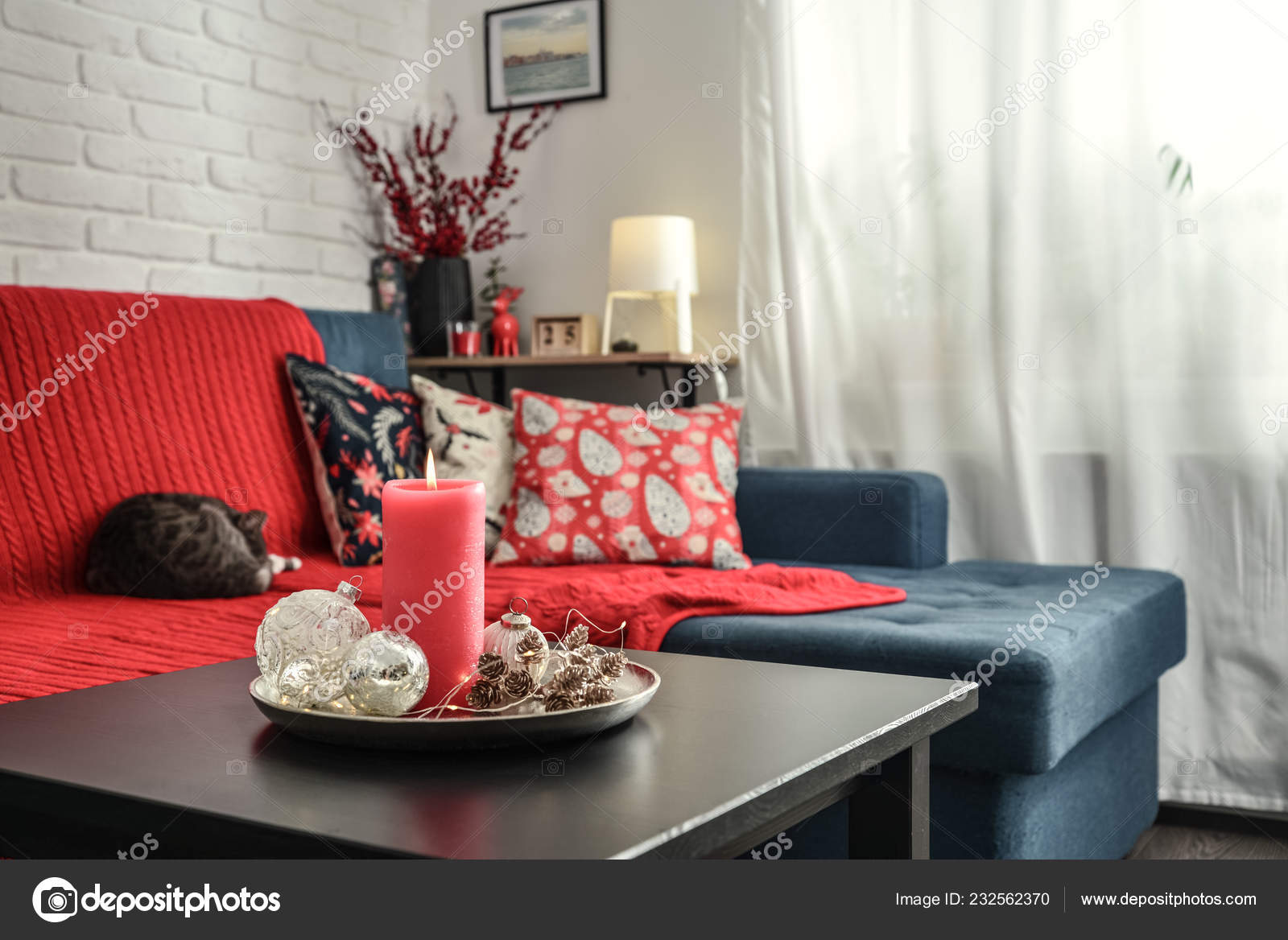 Christmas Decorations Candle Coffee Table Living Room Couch Closeup Stock Photo Image By C Tashka2000 232562370