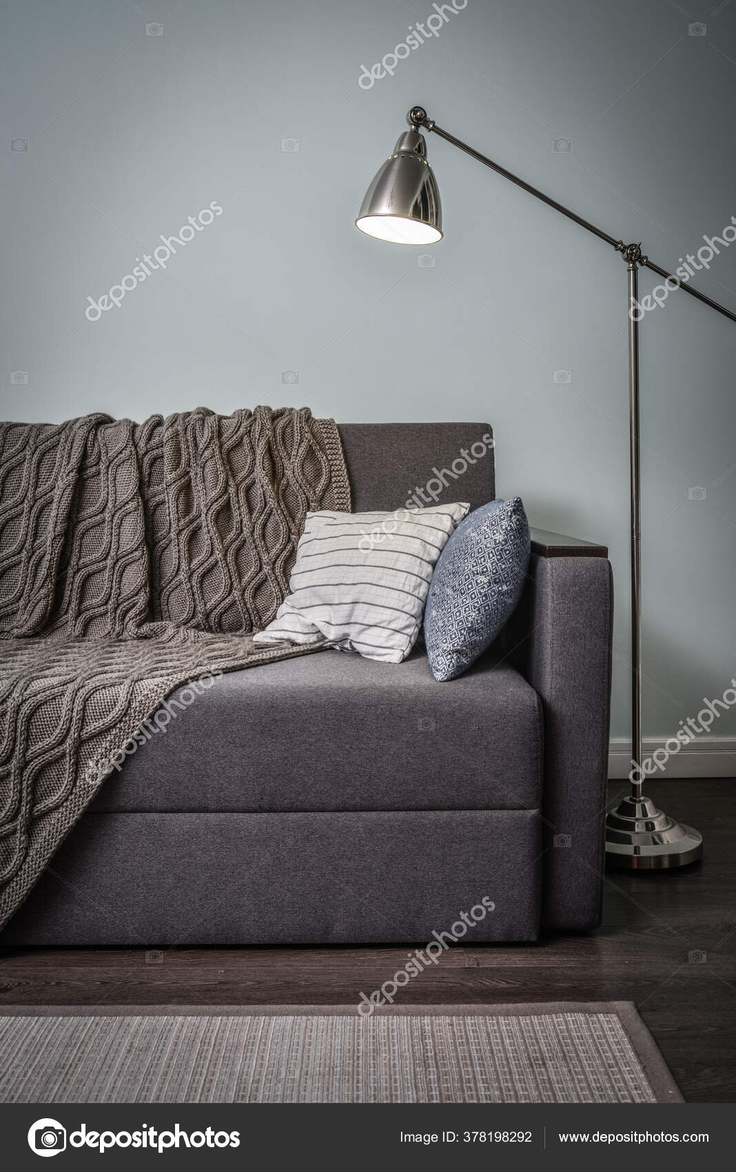 Picture of: Grey Couch Cushions Knitted Plaid Floor Lamp Room Blue Walls Stock Photo C Tashka2000 378198292