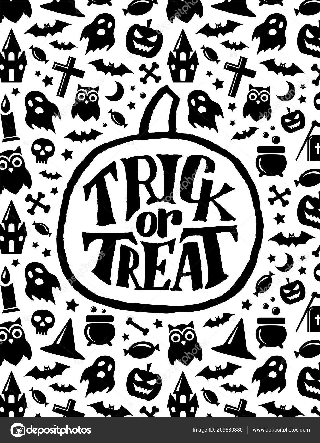 Happy Halloween Holiday Background Trick Treat Hand Lettering Text ...