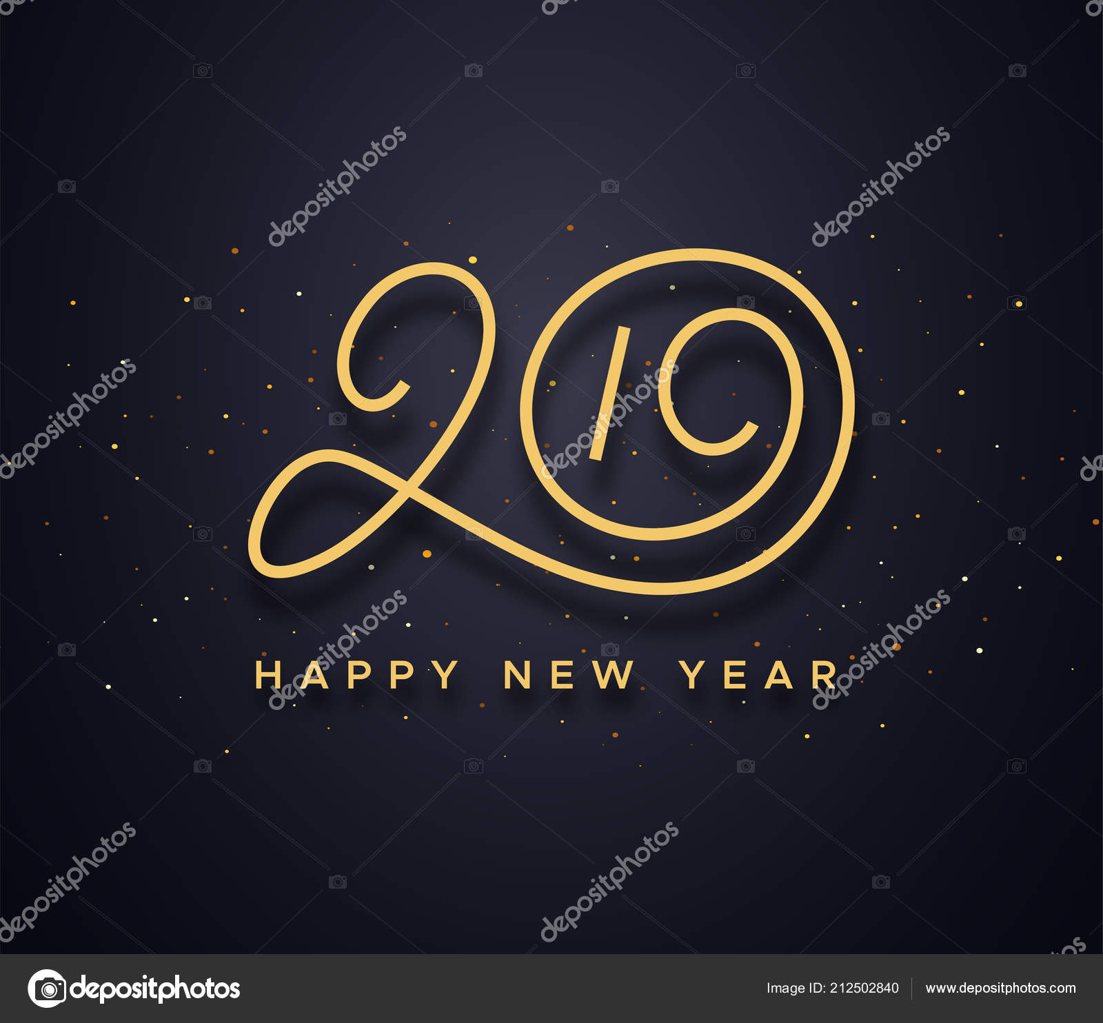 Happy New Year 2019 Wishes Typography Stock Vector C Astartu