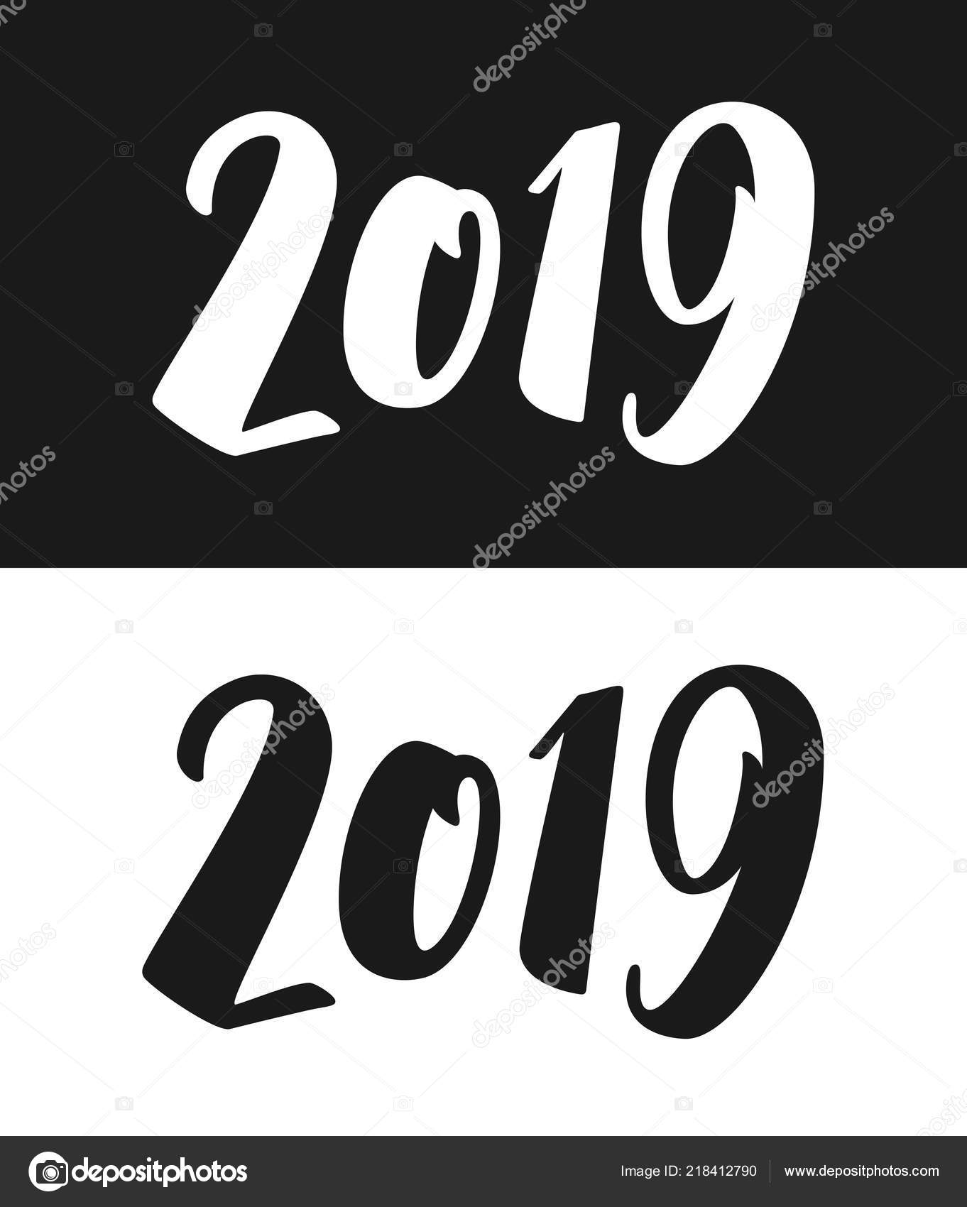 new year 2019 greeting card in black and white stock vector