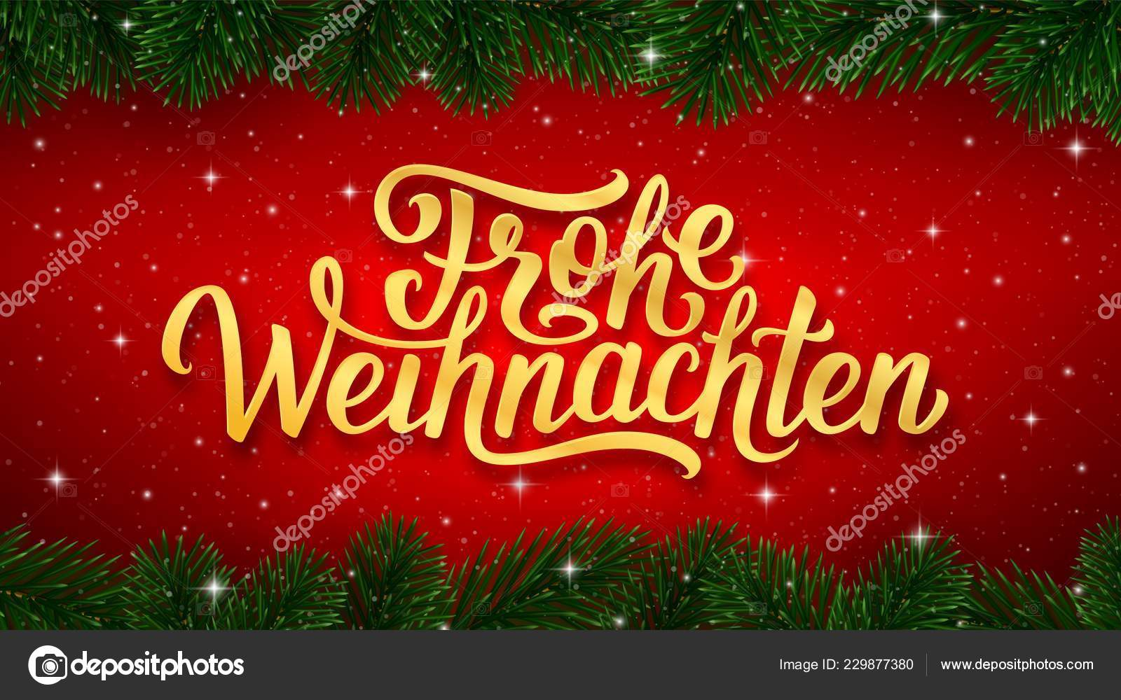 Merry Christmas German.Frohe Weihnachten German Merry Christmas Gold Calligraphy