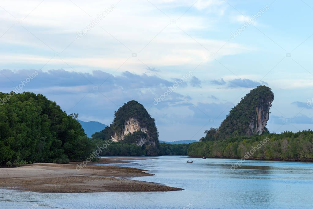 Close-up landscape view of Khao Khanab Nam mountains in Krabi Town