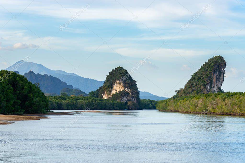 Khao Khanab Nam mountains in Krabi province in Thailand