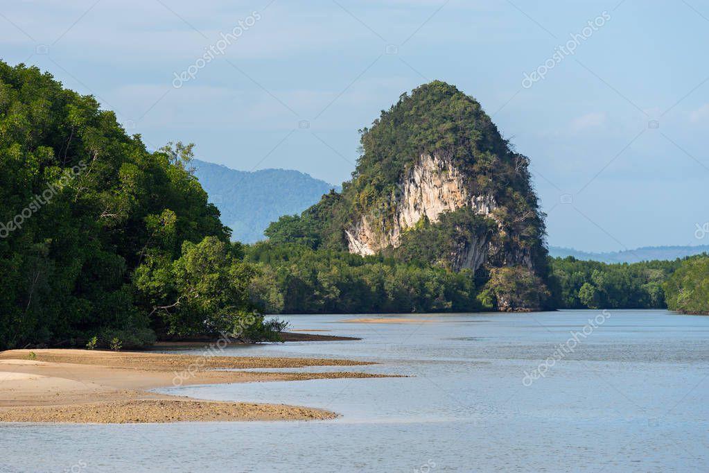 Close-up landscape view of Khao Khanab Nam mountains in Krabi