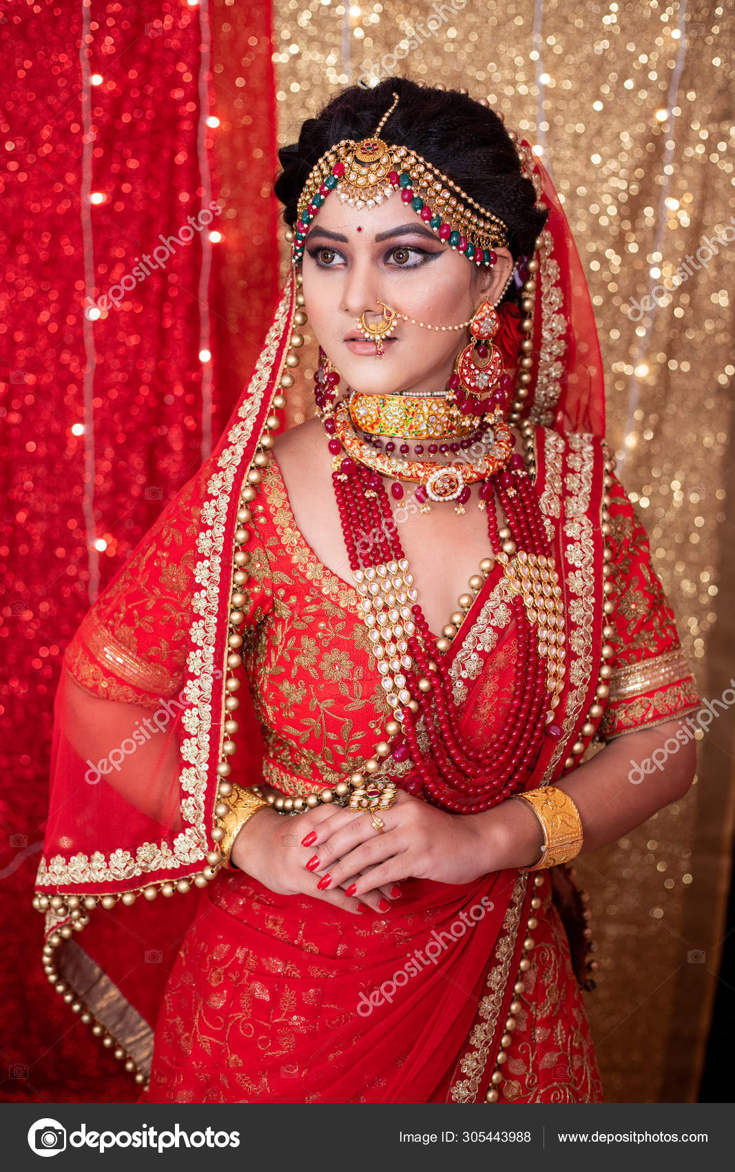 Pakistani Indian Bride Showing Wedding Lehenga Sharara Design