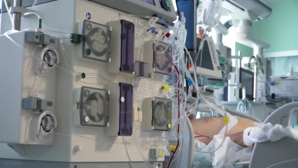 Medical Equipment in ICU. Mechanical Lung ventilation, Cardiac and Vital Sign Monitoring.