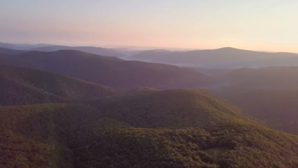 Beautiful morning colors over forest mountains