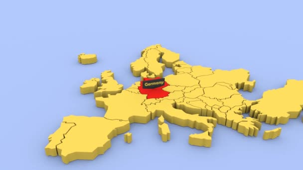 Map Of Germany 3d.A 3d Rendered Map Of Europe Focused On Germany Stock Video