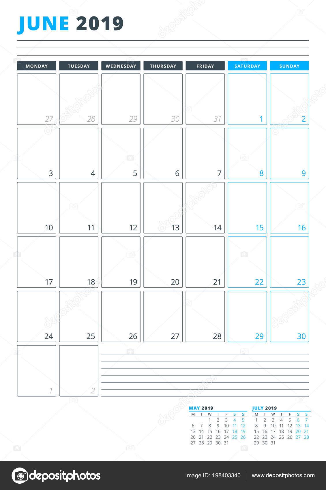 2019 júniusi naptár Naptár Sablon Június 2019 Üzleti Tervező Sablon Levélpapír Hét  2019 júniusi naptár