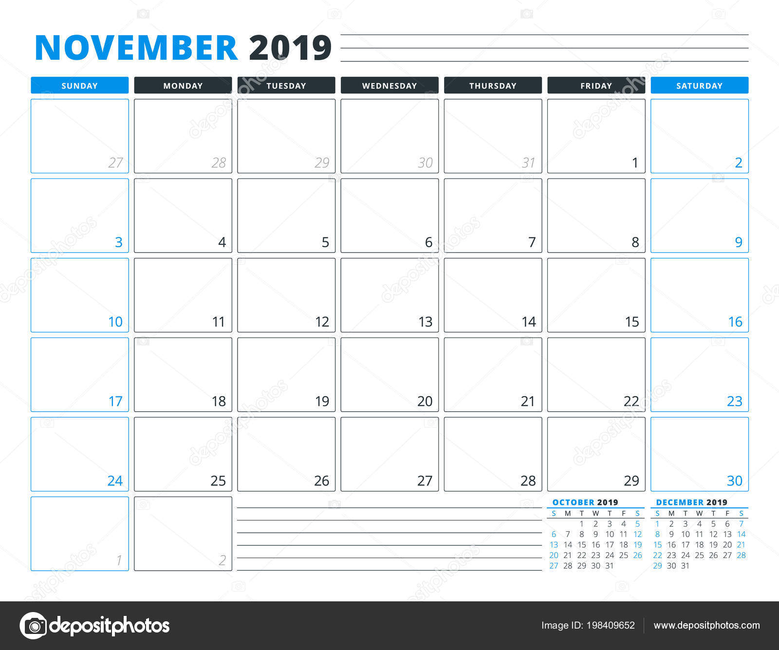 Calendario Noviembre 2019.Calendario Plantilla Para Noviembre 2019 Plantilla Planificador