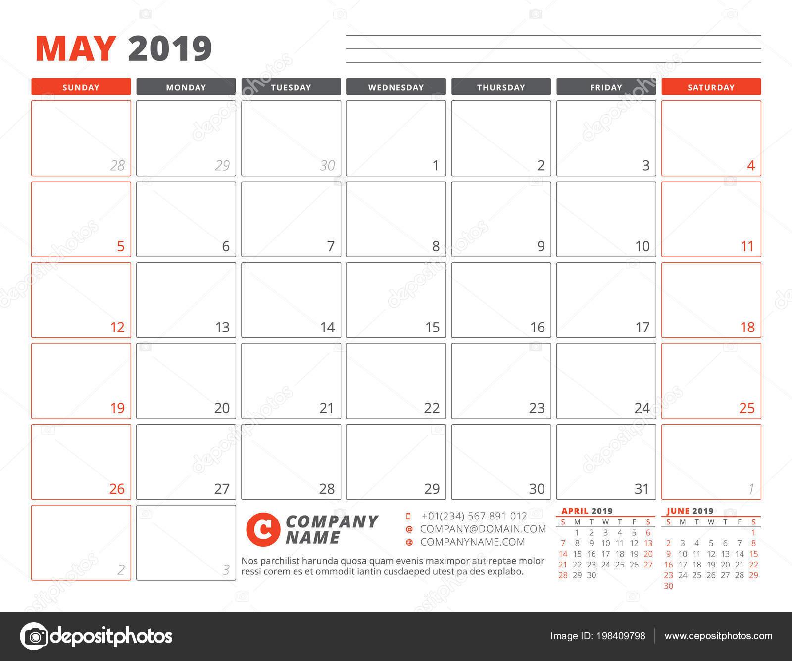 Kalendervorlage Für Mai 2019 Business Planer Vorlage Briefpapier ...