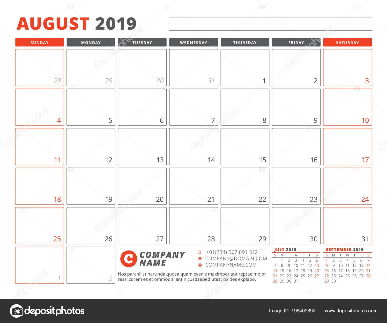 Schema Calendario Mensile.Modello Calendario Agosto 2019 Modello Business Planner