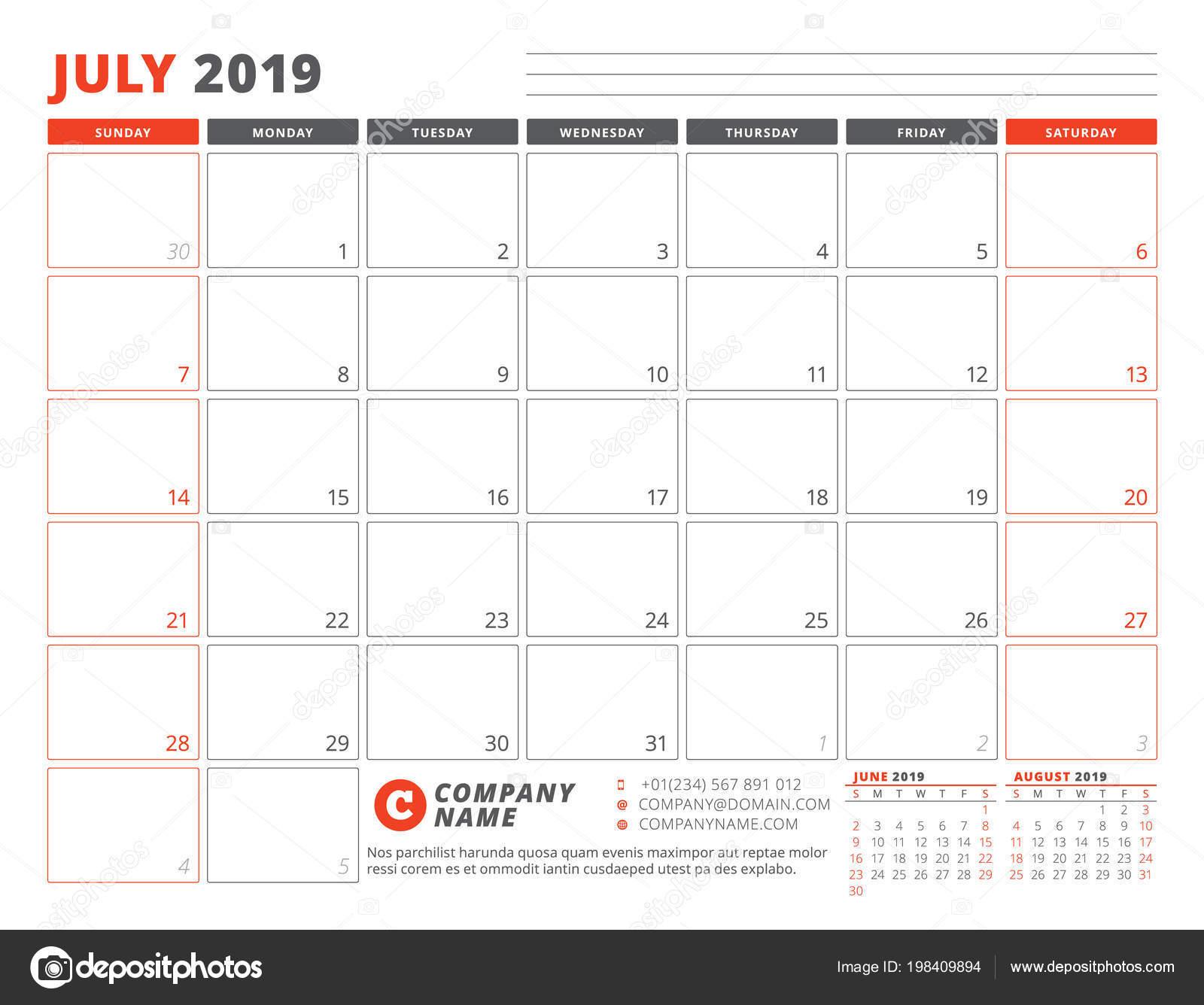 Calendario 31 Luglio 2019.Modello Calendario Luglio 2019 Modello Business Planner