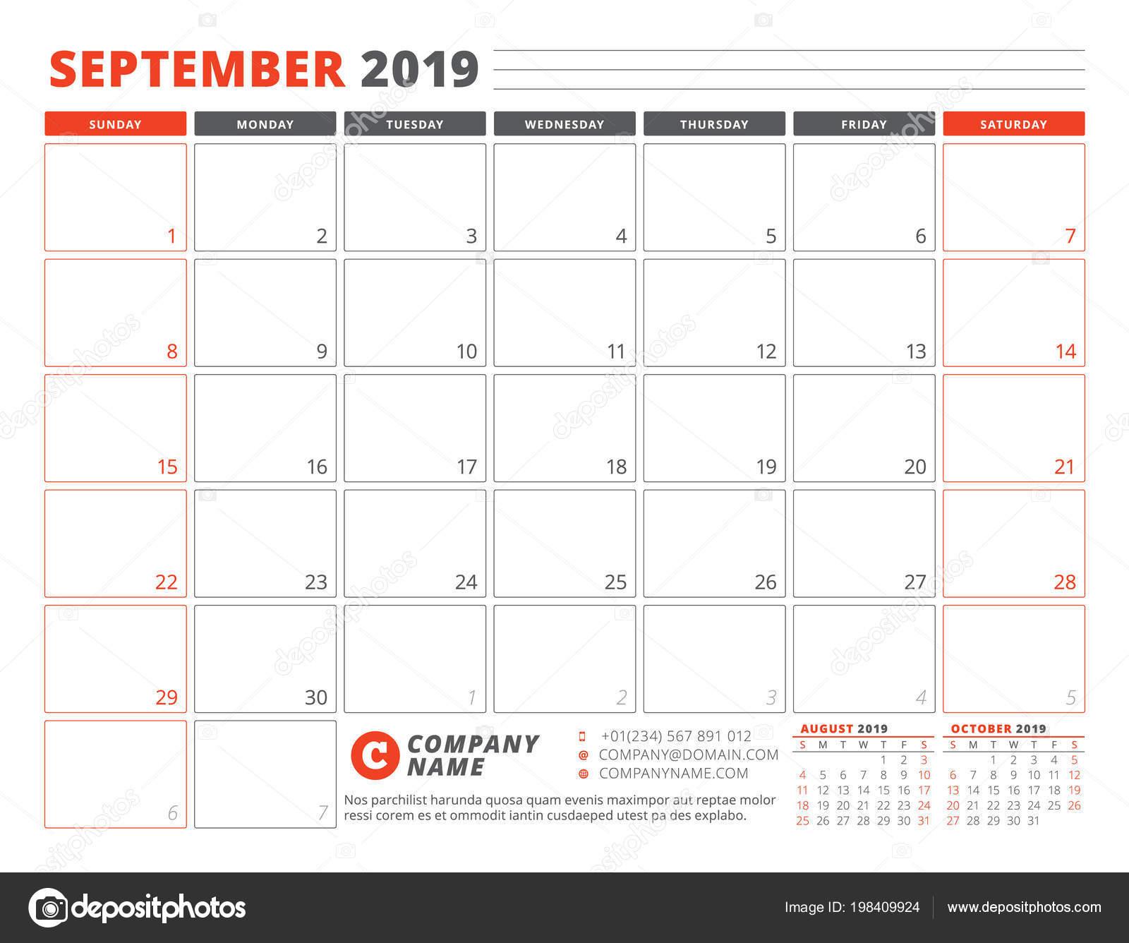 Calendar template september 2019 business planner template calendar template for september 2019 business planner template stationery design week starts on sunday landscape orientation maxwellsz