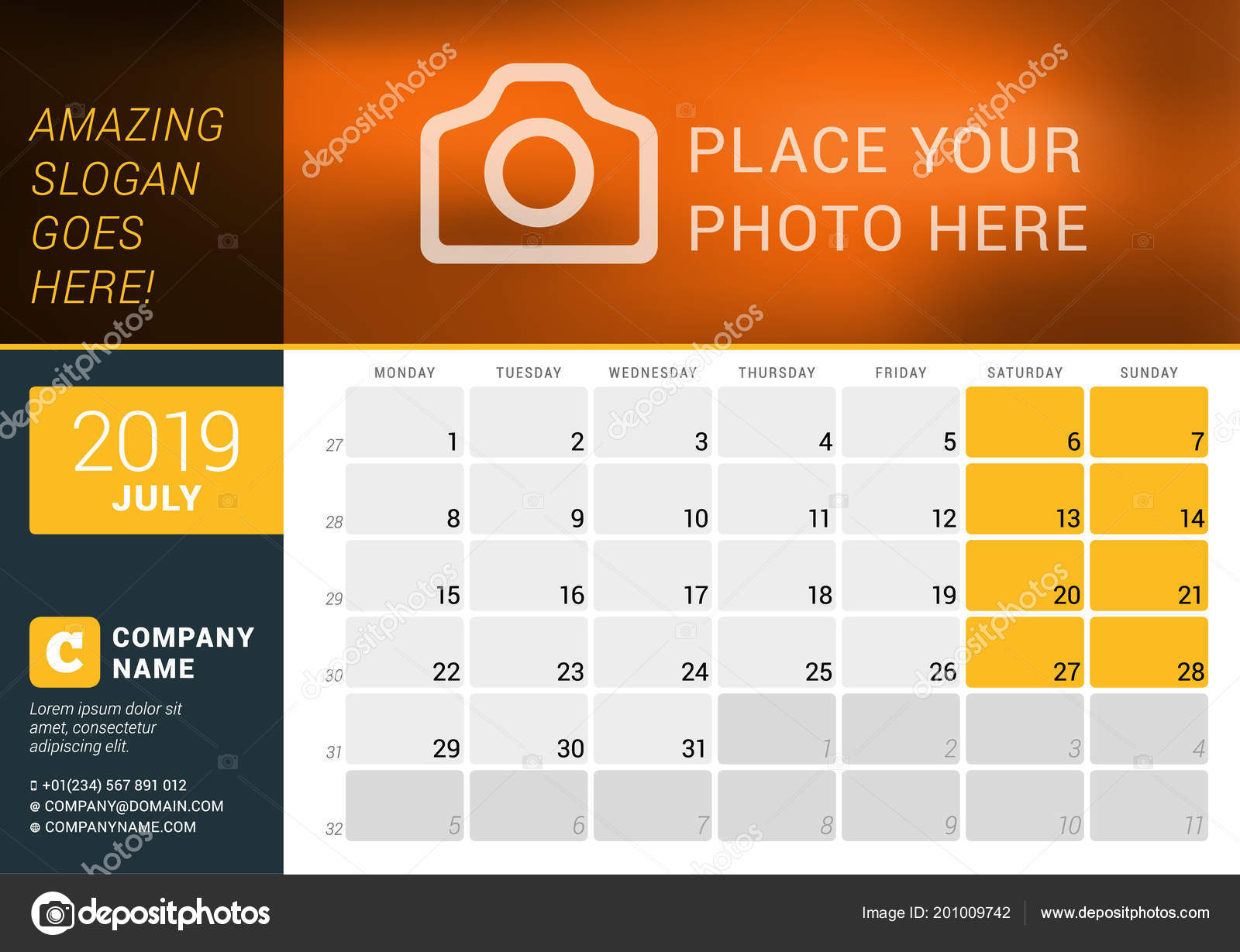 july 2019 desk calendar for 2019 year vector design print template with place for photo logo and contact information week starts on monday
