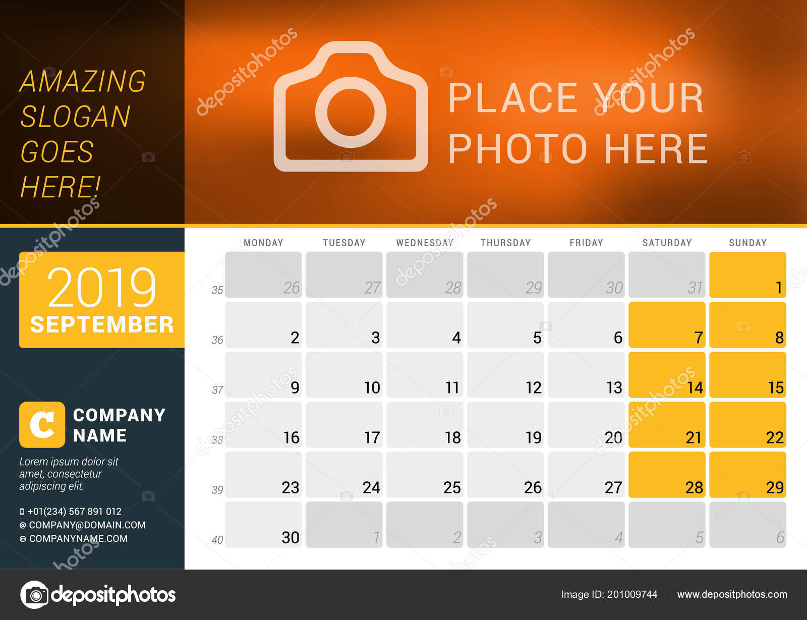 September 2019 Desk Calendar 2019 Year Vector Design Print Template