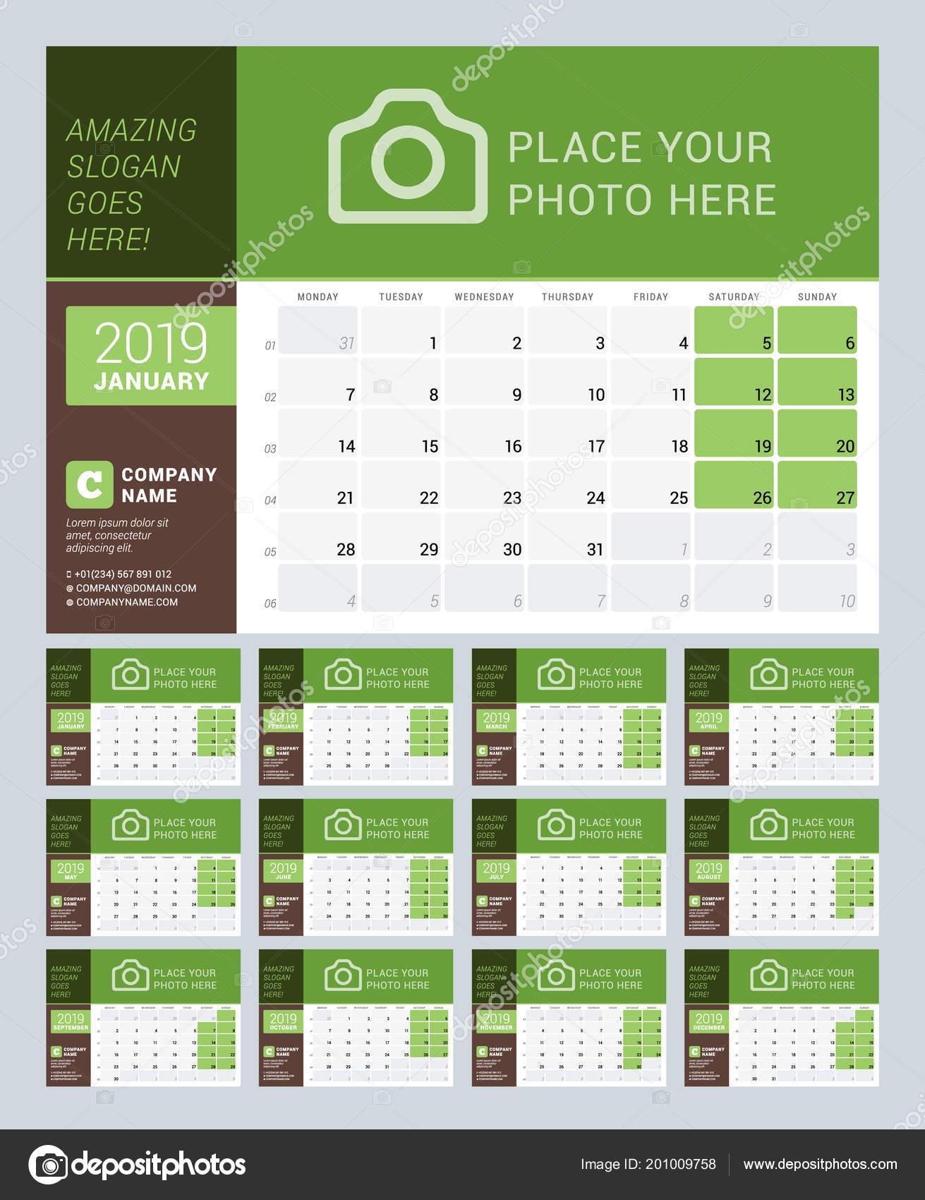 Desk Calendar 2019 Year Vector Design Print Template Place Photo