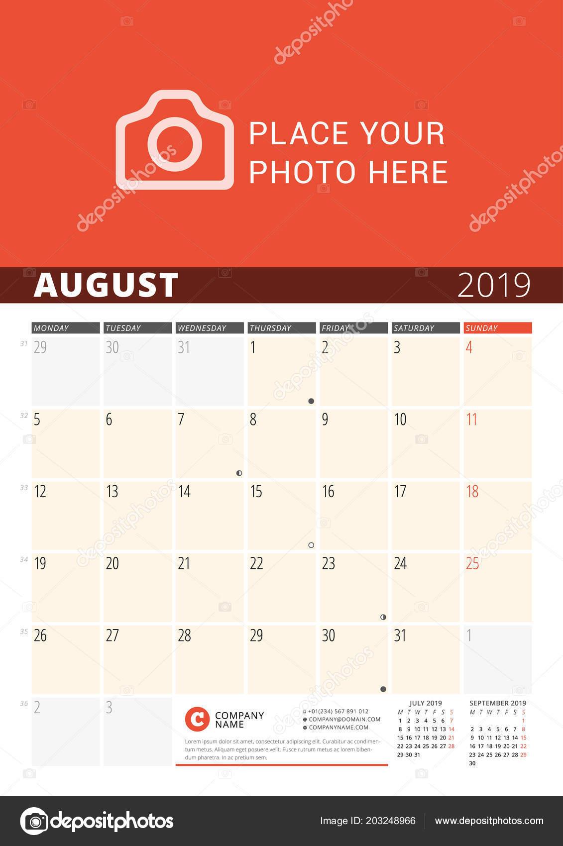 Pagina Calendario Agosto 2019.Parete Calendario Planner Anno 2019 Modello Stampa Disegno