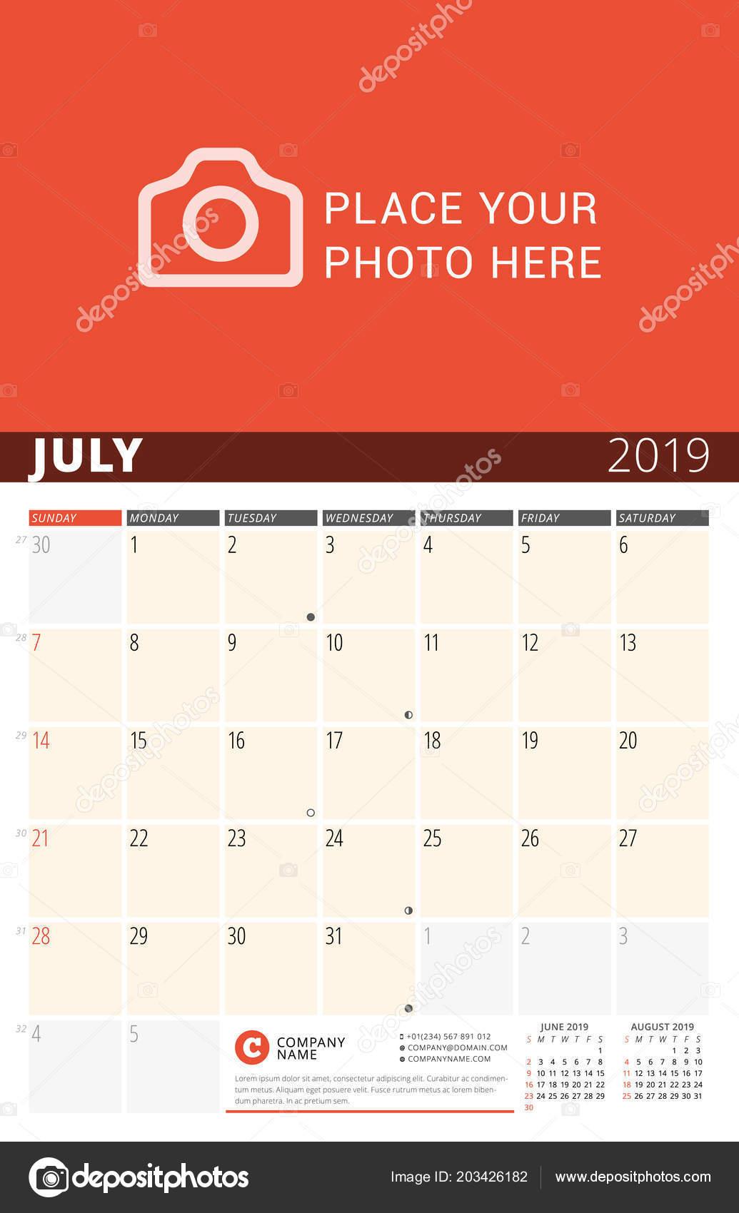 Pagina Di Calendario Luglio 2019.Parete Calendario Planner Anno 2019 Modello Stampa Disegno